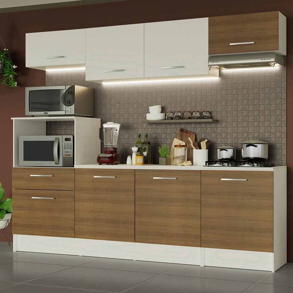 Cozinha Completa Madesa Onix 240002 com Armario e Balcão Branco/Rustic 096E
