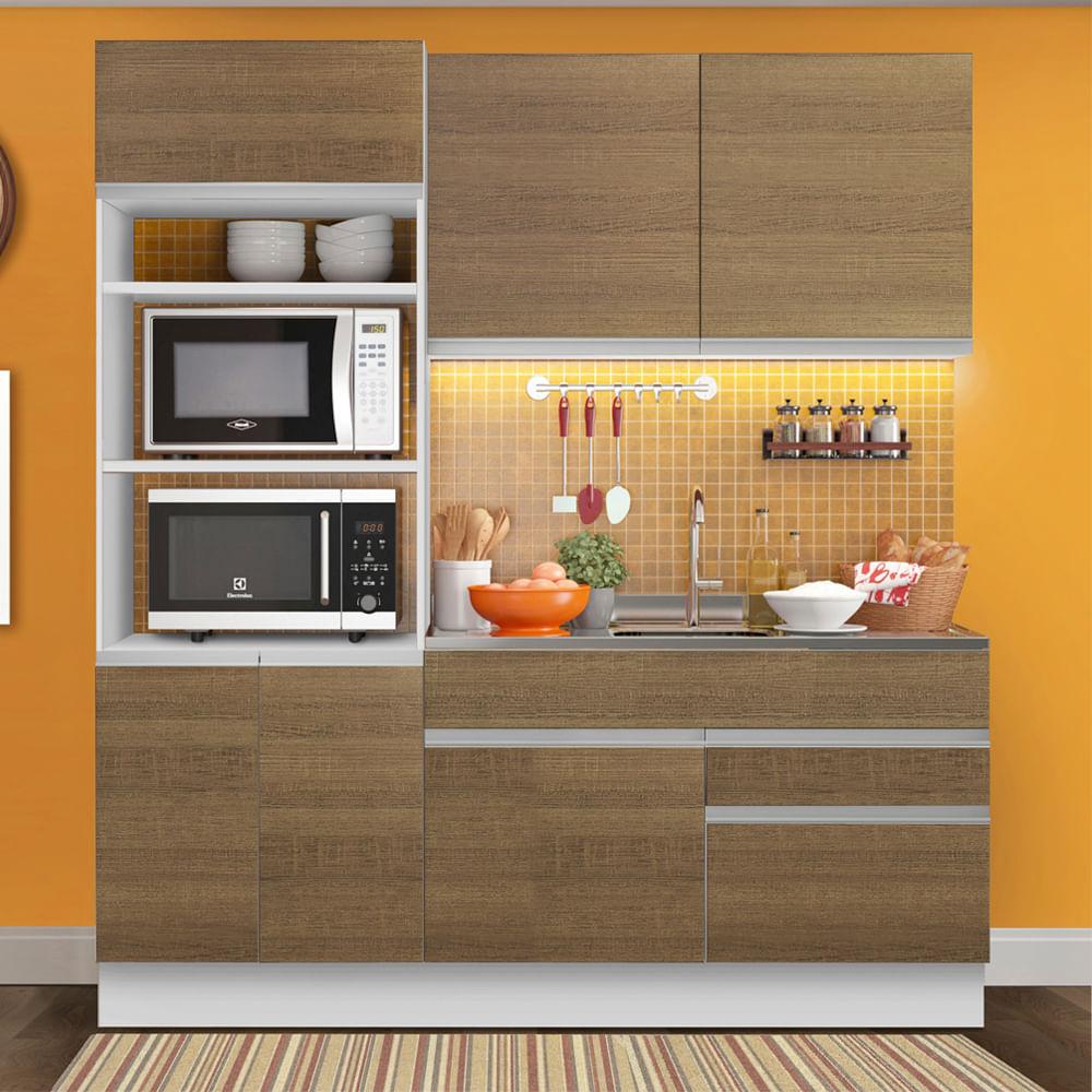 Cozinha Compacta Madesa Lívia 6 Portas 2 Gavetas (Sem Tampo e Pia) Branco/Rustic