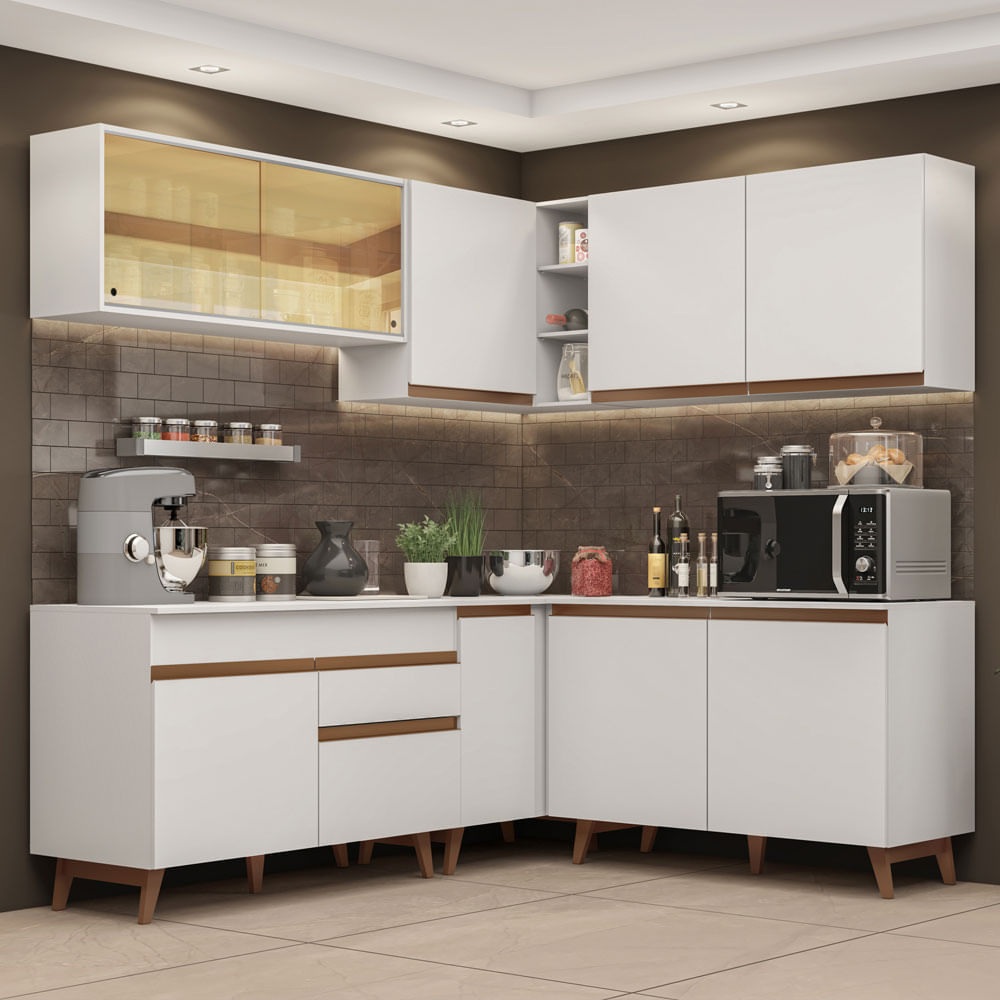 Cozinha Completa de Canto Madesa Reims 382001 com Armário e Balcão Branco