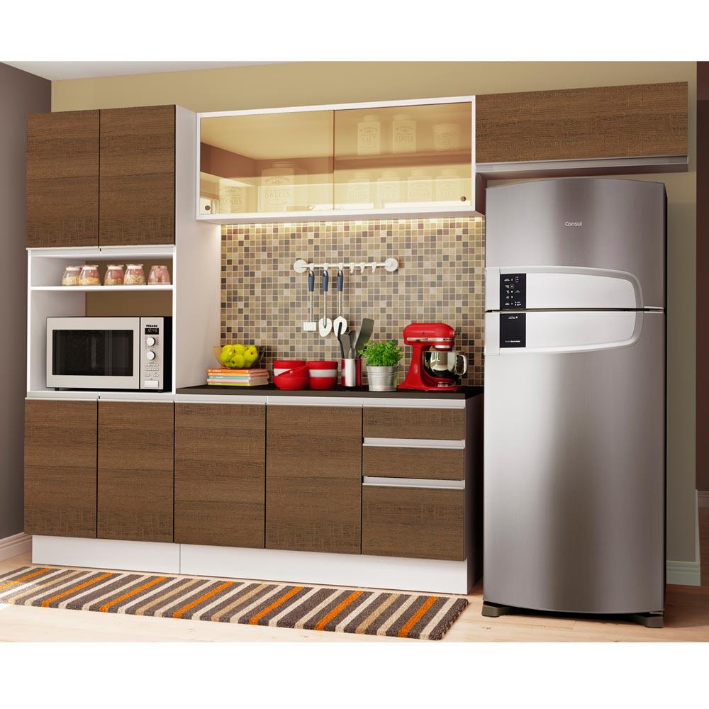 Cozinha Completa Madesa Acordes 100% MDF com Armário e Balcão  + Tampo Branco/Rustic