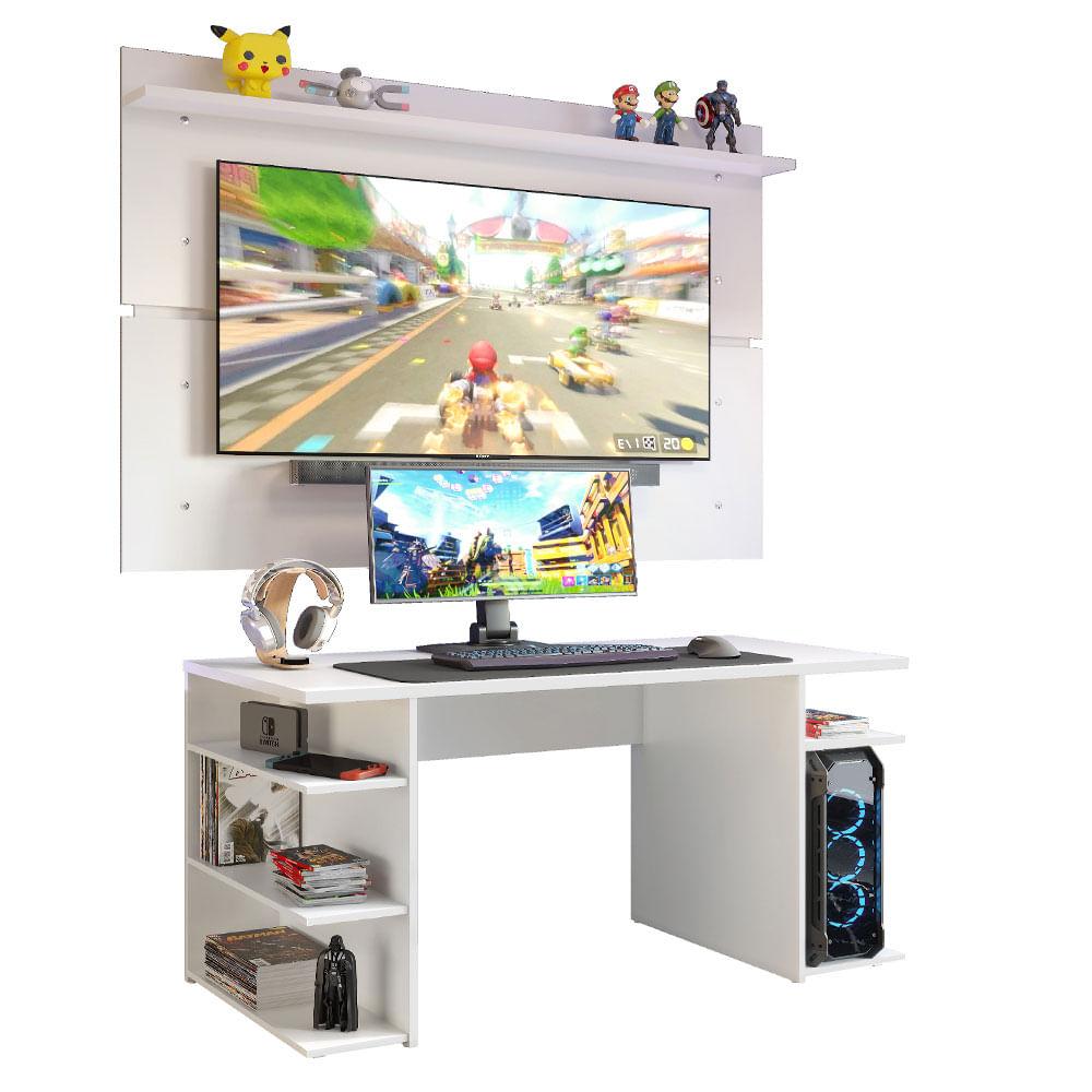 Mesa Gamer Madesa 9409 e Painel para TV até 65 Polegadas Branco