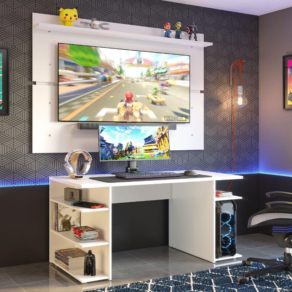 Mesa para Computador Gamer Madesa 9409 e Painel para TV até 65 Polegadas Branco