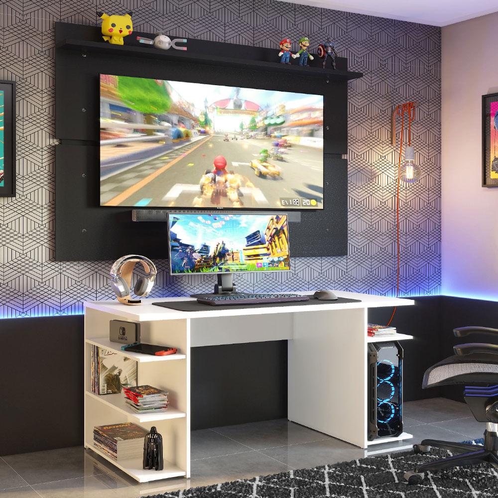 Mesa para Computador Gamer Madesa 9409 e Painel para TV até 65 Polegadas Branco/Preto