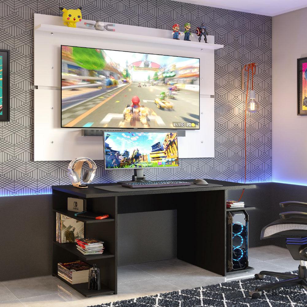 Mesa para Computador Gamer Madesa 9409 e Painel para TV até 65 Polegadas Preto/Branco