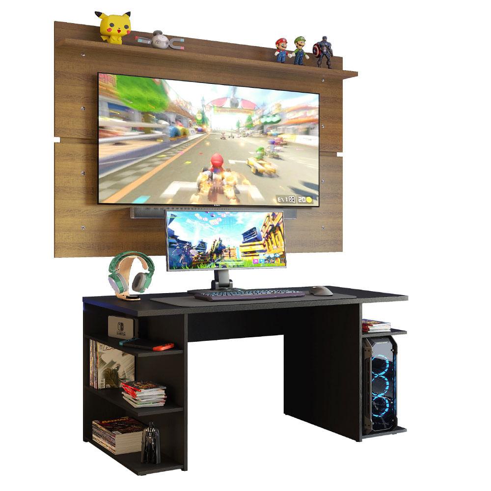 Mesa Gamer Madesa 9409 e Painel para TV até 65 Polegadas Preto/Rustic