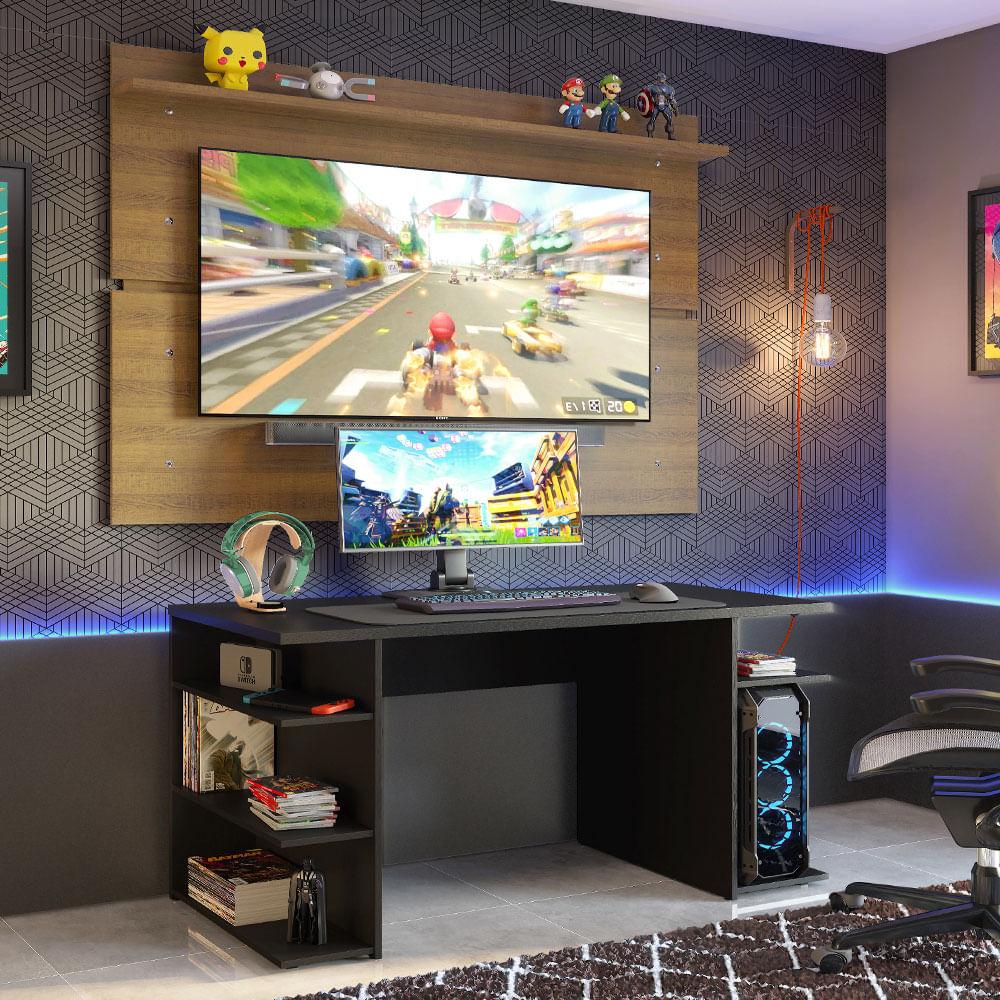 Mesa para Computador Gamer Madesa 9409 e Painel para TV até 65 Polegadas Preto/Rustic
