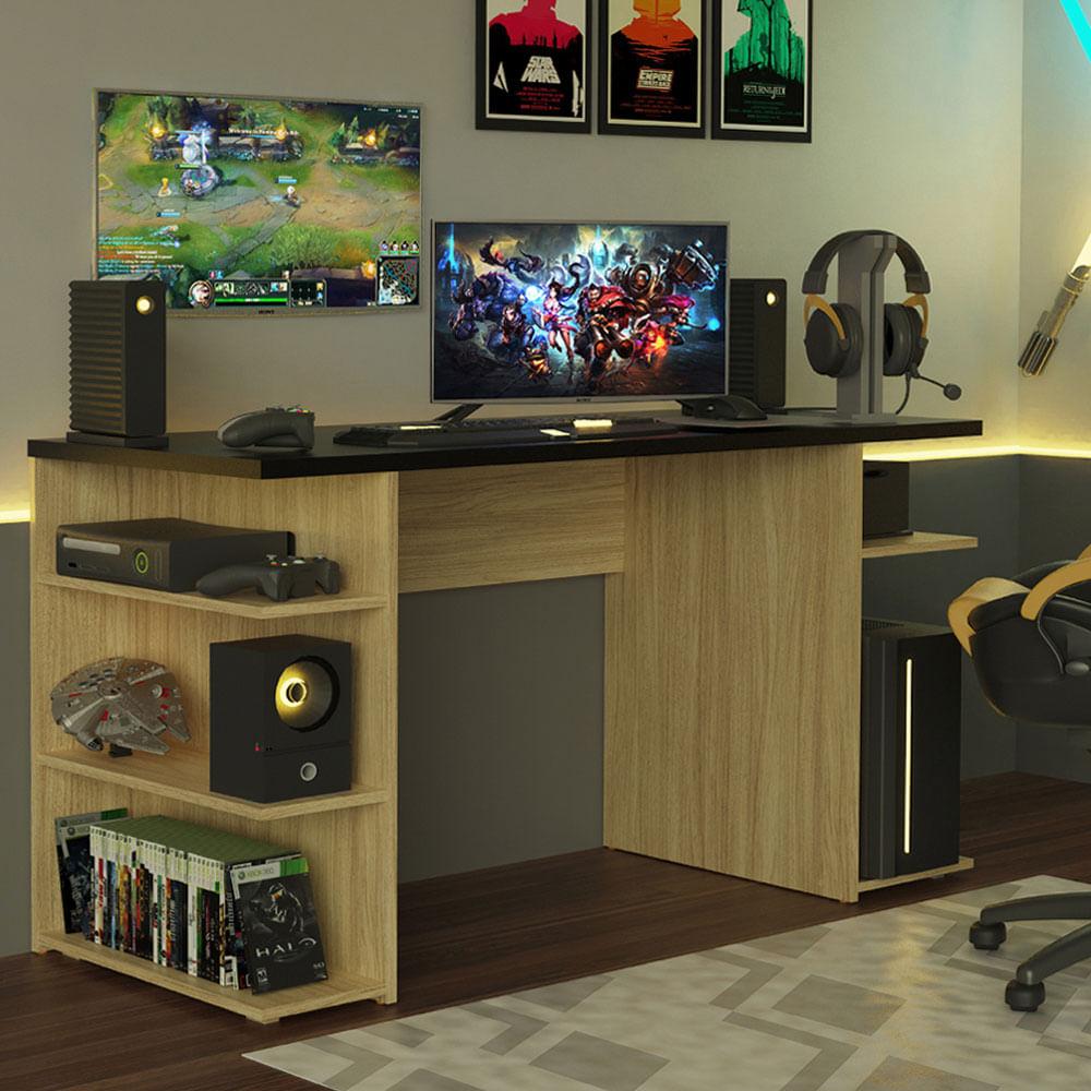 Mesa para Computador Gamer Madesa 9409 Carvalho/Preto