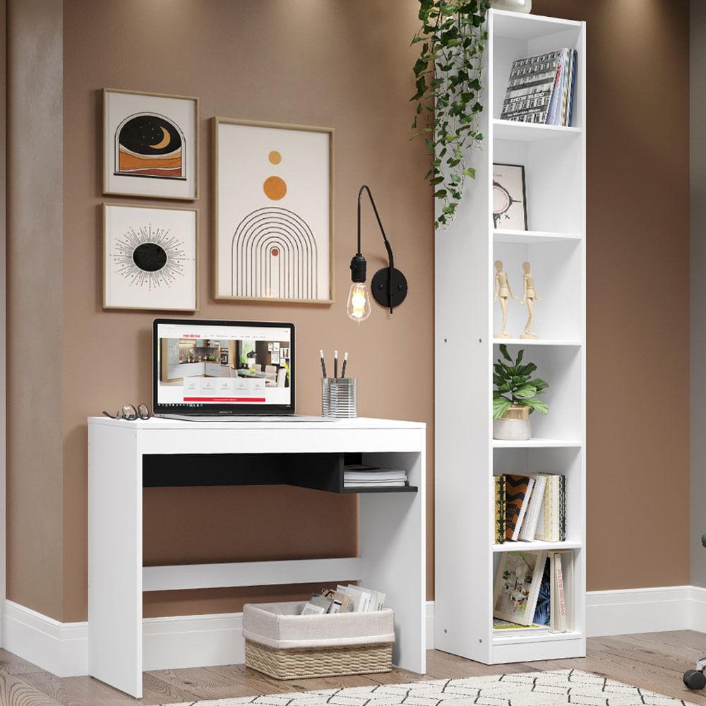Escrivaninha Madesa Rubi + Estante Livreiro 6906 Branco