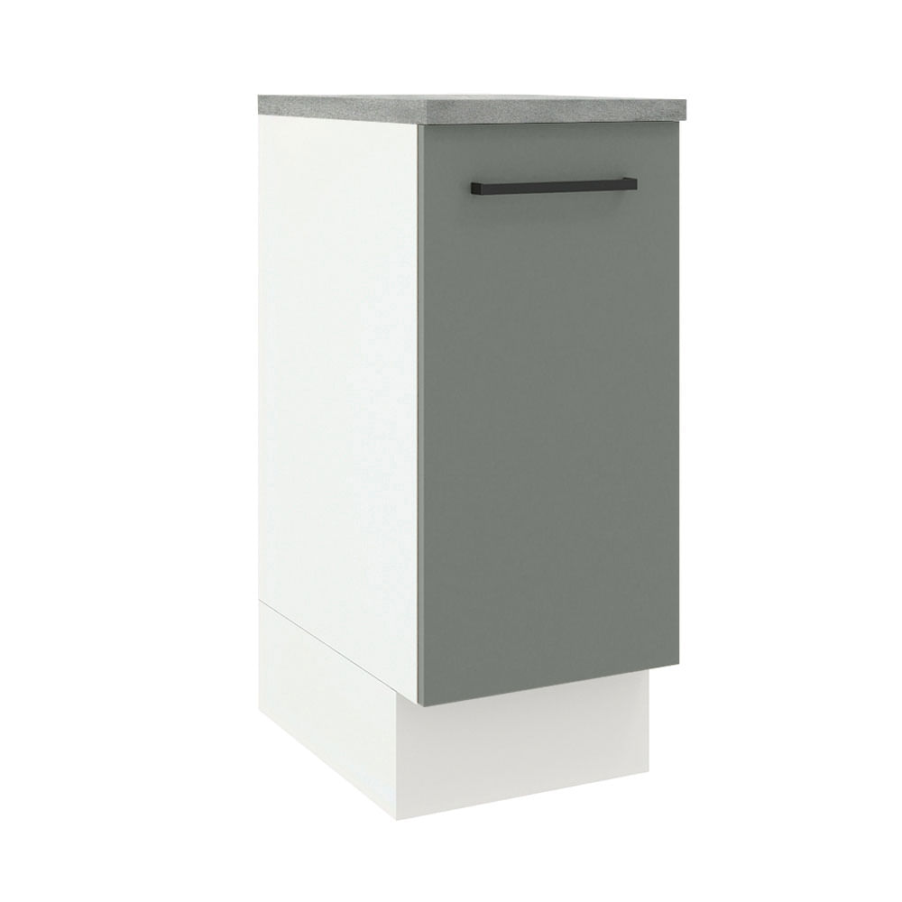Balcão Madesa Agata 35 cm 1 Porta Branco/Cinza