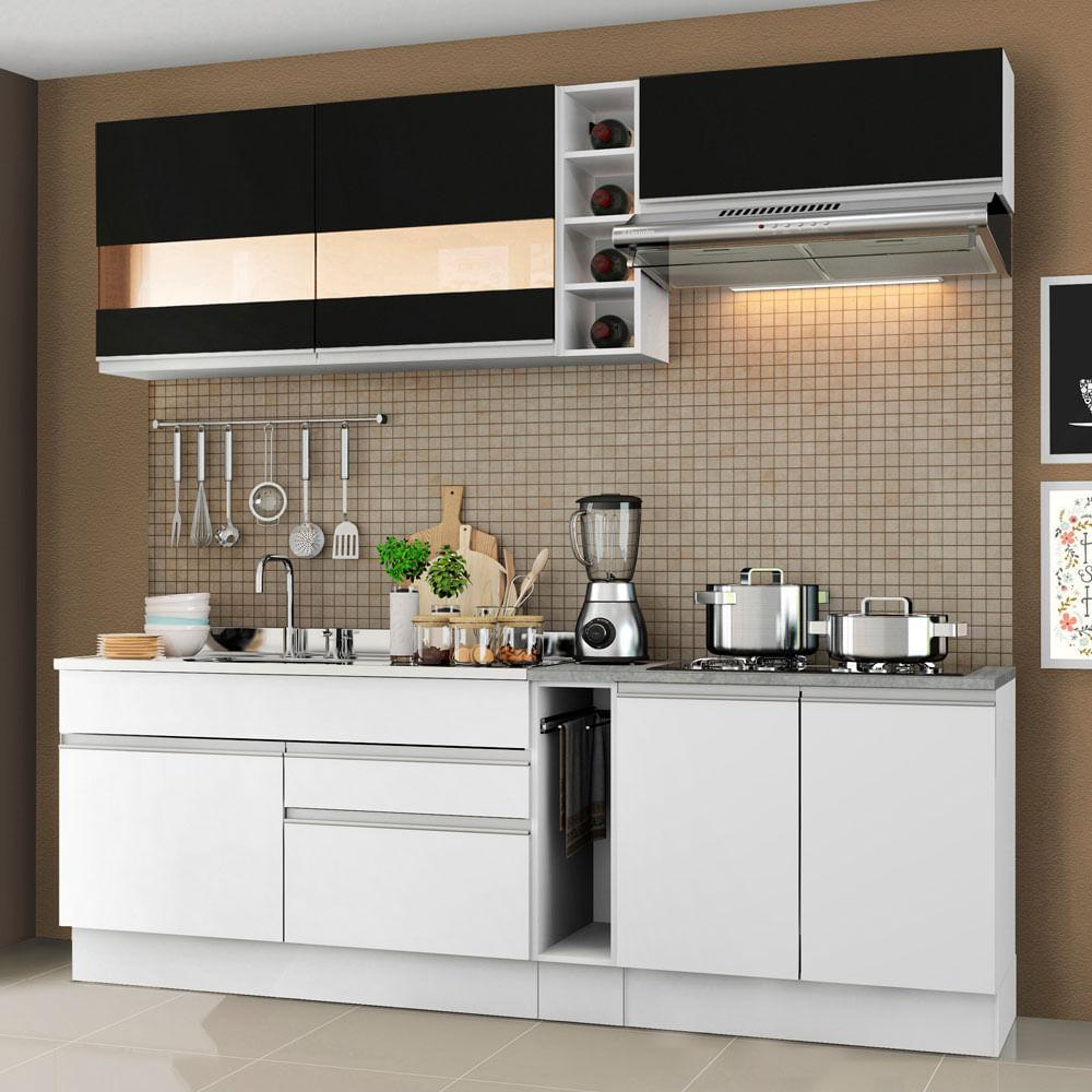 Cozinha Completa Madesa Parma com Armário e Balcão (Sem Tampo e Pia) Branco/Branco/Preto