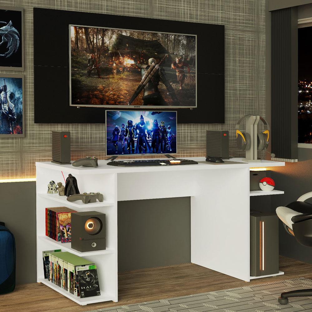 Mesa para Computador Gamer Madesa 9409 e Painel para TV até 50 Polegadas Branco/Preto