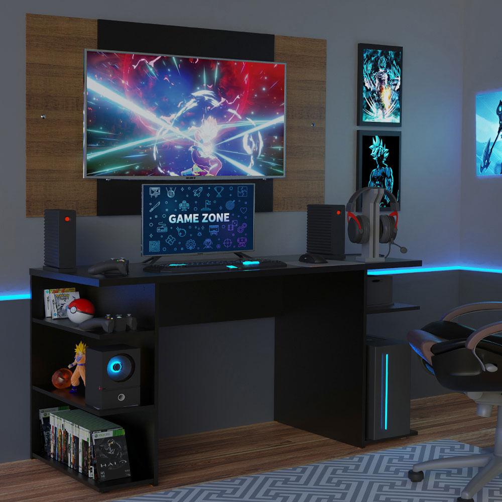 Mesa para Computador Gamer Madesa 9409 e Painel para TV até 58 Polegadas Preto/Rustic