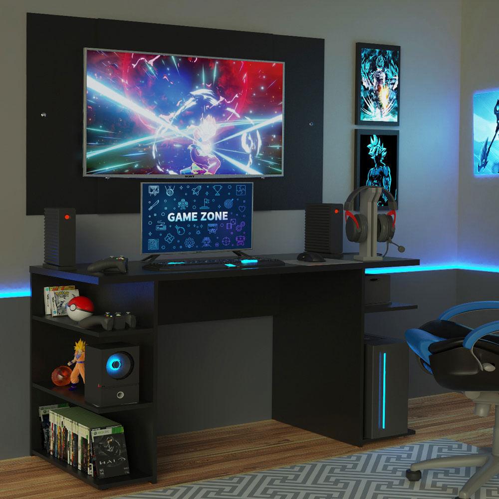 Mesa para Computador Gamer Madesa 9409 e Painel para TV até 58 Polegadas Preto
