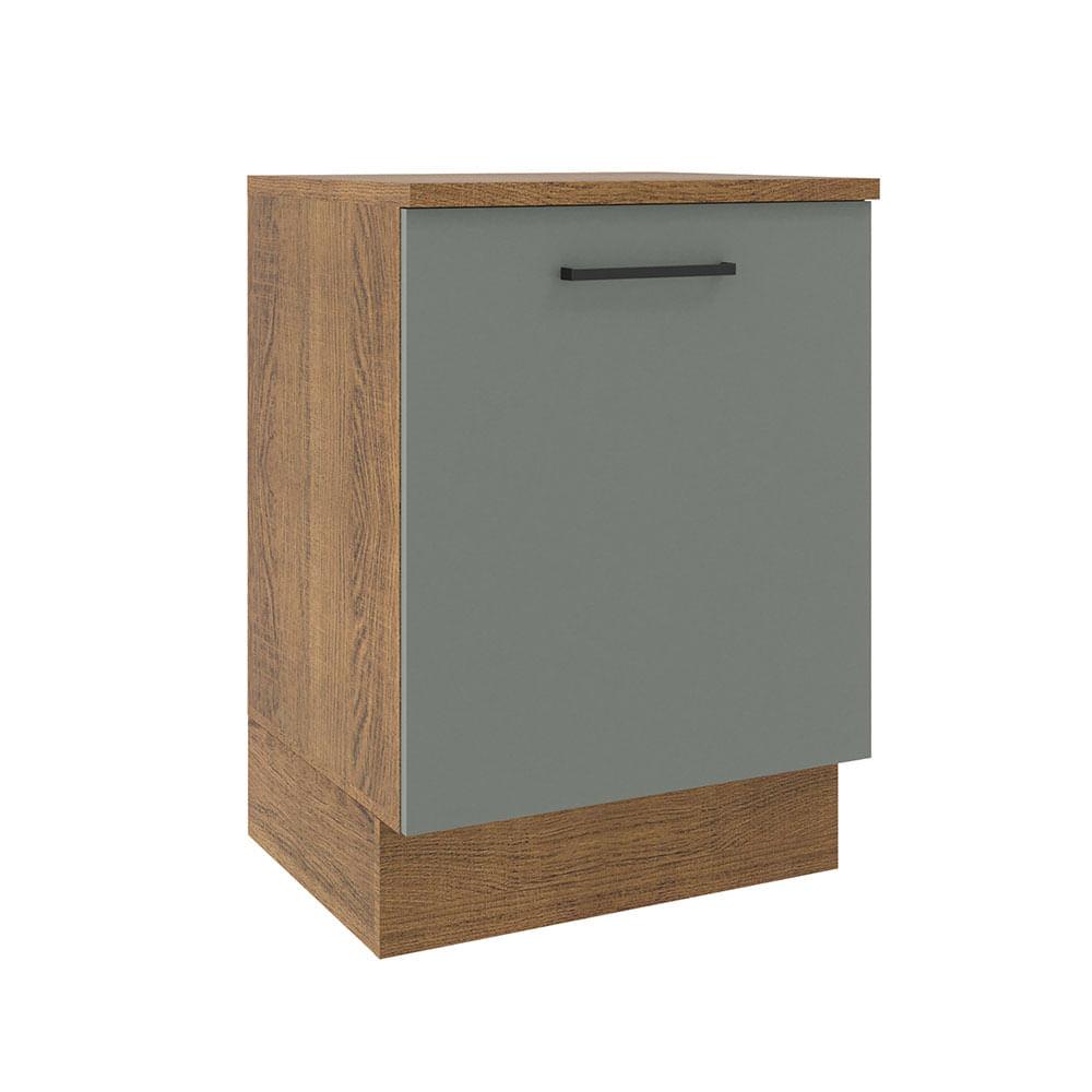 Balcão Madesa Agata 60 x 60 cm 1 Porta (Com Tampo) Rustic/Cinza