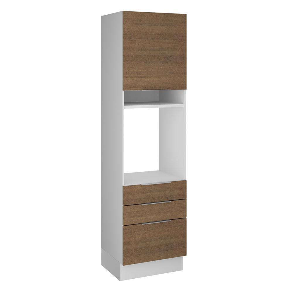 Torre-Quente Madesa Stella 60 x 60 cm 1 Porta 3 Gavetas Branco/Rustic