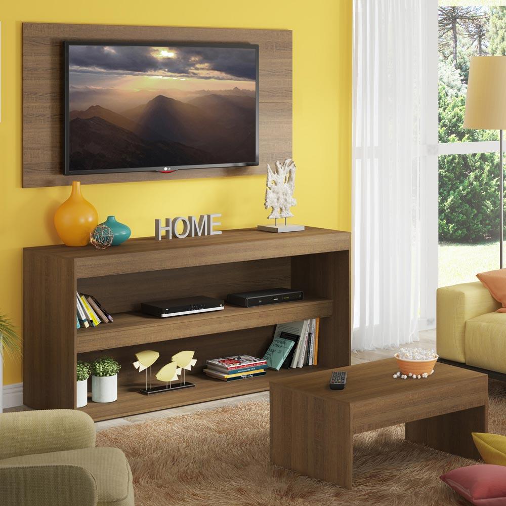 Rack com Painel para TV até 55 Polegadas e Mesa de Centro Madesa Flórida Rustic