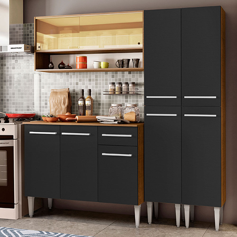 Cozinha Compacta Madesa Emilly Winter com Armário Vidro Reflex e Balcão Rustic/Preto